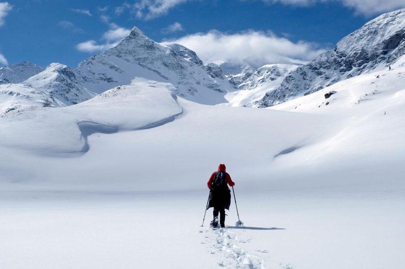 Schneeschuhwandern am Bernina Pass St. Moritz Engadin