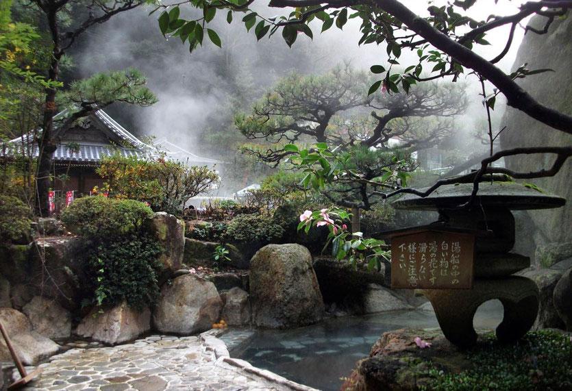 Ryokan Adumaya Yunomine schönes Onsen Außenbad Rotenburo