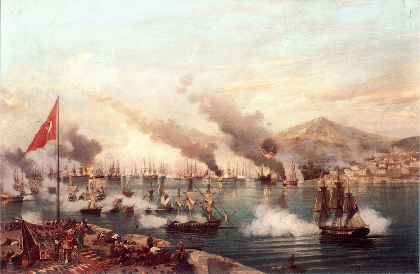 Schlacht von Navarino, Gemälde von Ambroise Louis Garneray (ca. 1830)