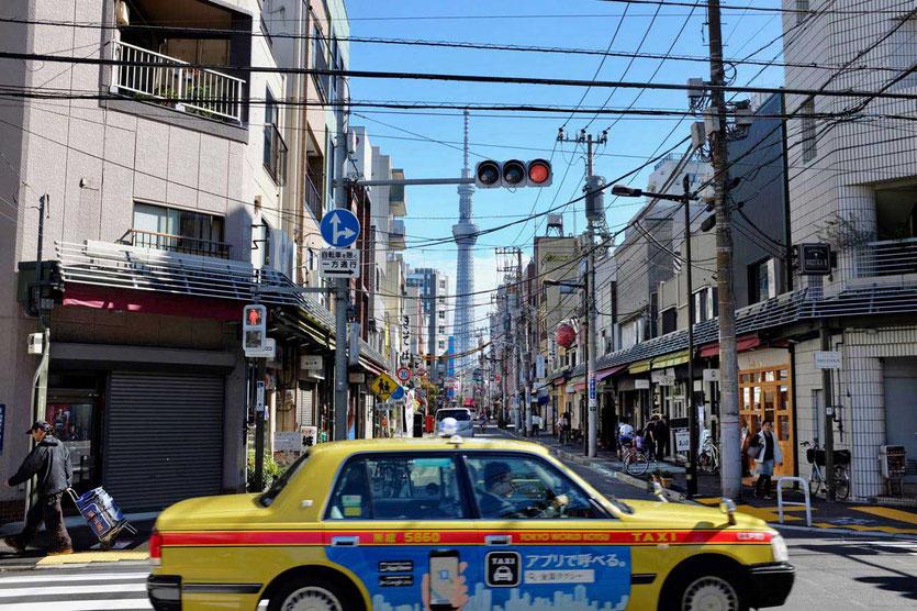 Tokyo Skytree Tower from Kappabashi Street, Tokio Kitchen Town