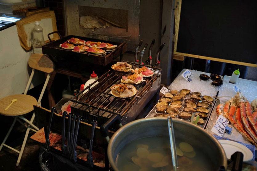 Tokio Tsukiji Outer Market Fisch Sushi Restaurants Fischmarkt