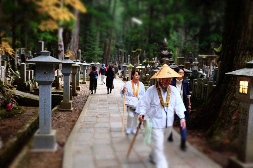 Okunoin Besuch Friedhof Mausoleum Kukai buddhistische Tempelunterkunft Koyasan Japan