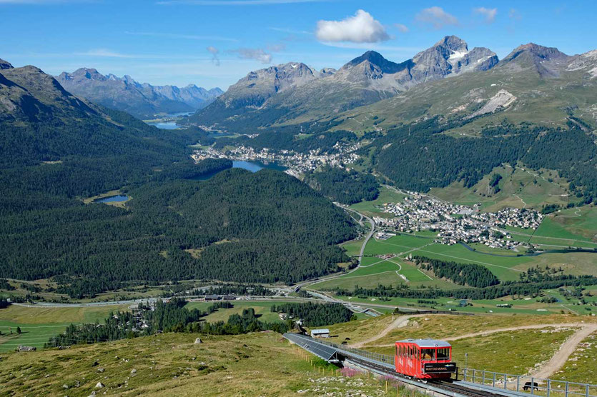 Ausblick von Muottas Muragl über St. Moritz, Oberengadin
