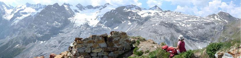 Trafoier Höhenweg einfache Wanderung am Stilfser Joch Ortler-Gruppe