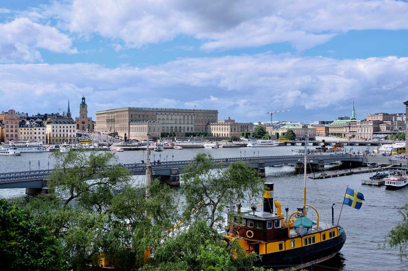 Blick von Skeppsholmen auf Stadt Stockholm
