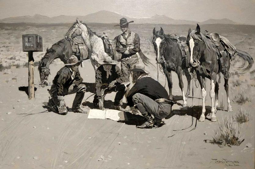 """Frederic Remington (1861-1909) Ein Postamt im """"Cow Country"""". Ein Besuch auf William F. """"Buffalo Bill"""" Codys Ranch inspirierte den Künstler 1901 zu diesen Gemälde (Whitney Western Art Museum Cody)."""