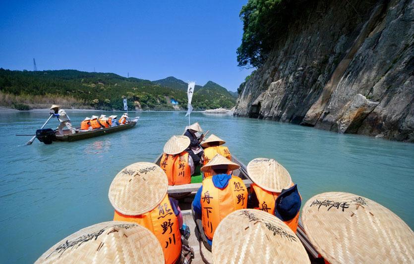Japan Kumano Hongu Taisha Schrein Kumano Kodo Pilgerroute Bootstour Flussfahrt
