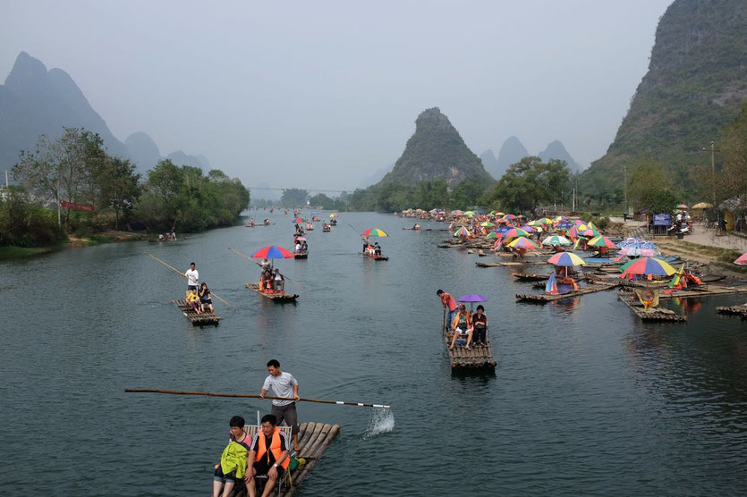Yulong river bamboo raft, Yangshuo, Guilin