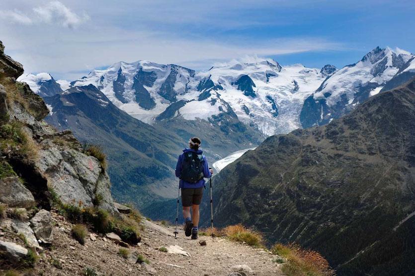 Blick in die Bernina-Gruppe, Engadin, Schweiz