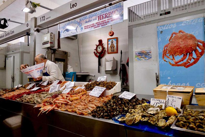 Den frischesten Fisch Spaniens gibt es im Fischmarkt von Cádiz