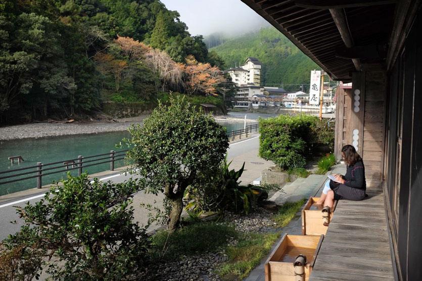 Fuß-Onsen im Kameya Ryokan in Kawayu Onsen Kumano Kodo