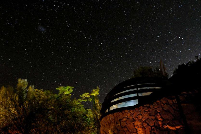 Nachthimmel Terrasse Cabañas Caballieri Pisco Elqui