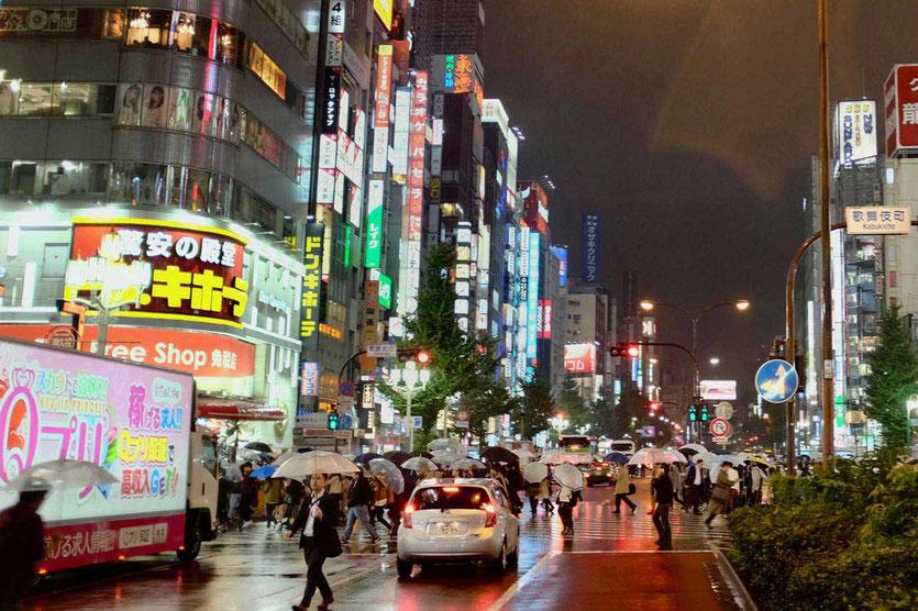 Taifun rain Shinjuku by night