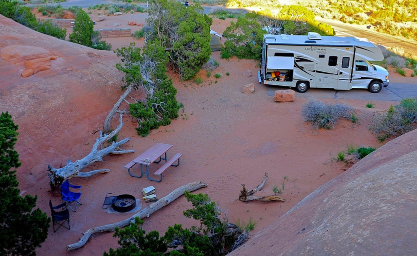 USA Nationalpark mit Wohnmobil Campground Devils Garden,  Arches Nationalpark