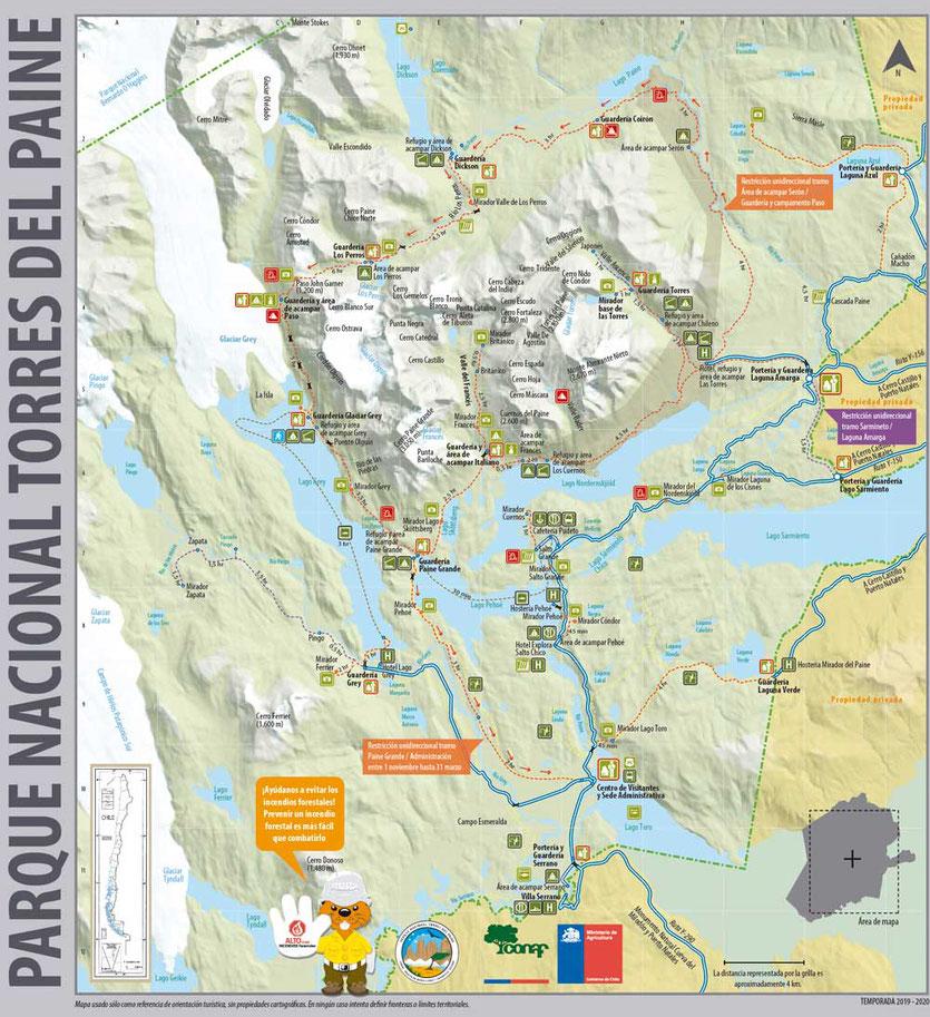 Wanderkarte Nationalpark Karte Torres del Paine