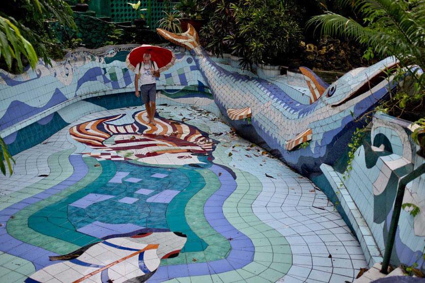Pool and House of famous artist Affandi Museum Yogyakarta