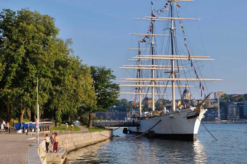 Die Af Chapman ankert vor Skeppsholmen