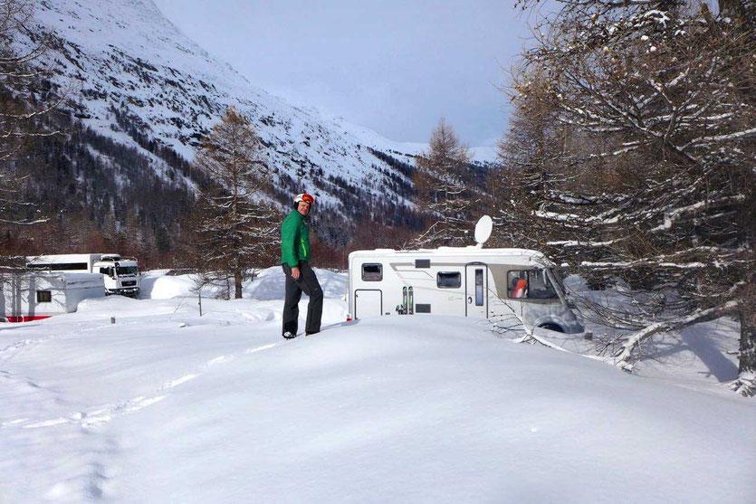 Morteratsch Wohnmobil Wintercamping Schweiz St. Moritz Engadin