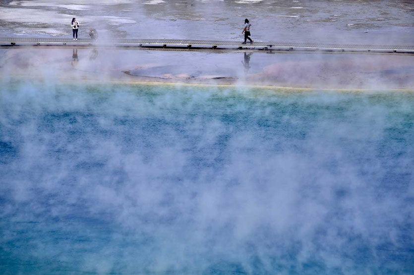 Boardwalk Grand Prismatic Spring Yellowstone