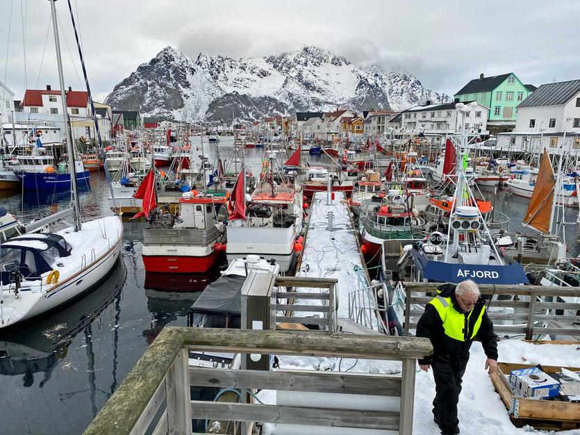 Norwegen, Lofoten, Fischereihafen von Henningsvaer