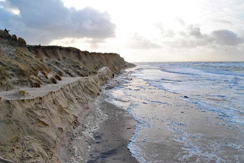 Sandverluste nach einem Herbststurm Sylt