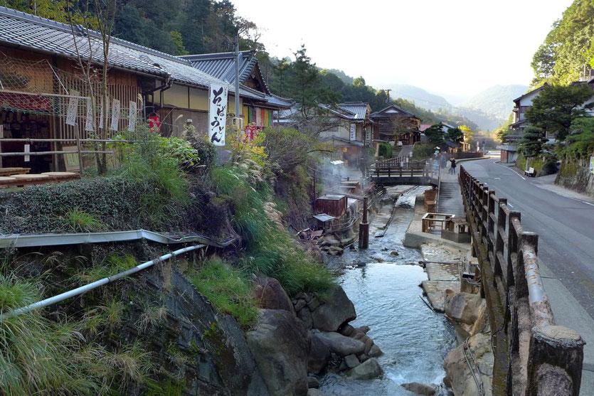Heiße Quellen in Yunomine Onsen Ryokan auf dem Kumano Kodo