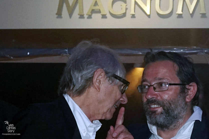 Ken Loach, Palme d'or, en conversation avec Vincent Maraval de Wild Bunch - Plage Magnum - Festival de Cannes 2016 - Photo © Anik Couble