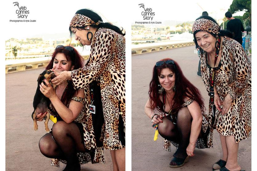 Pascaline Benito et Esméralda Petit-Benito, les célèbres femmes panthères, partageant un amour inconditionnel pour les animaux - Festival de Cannes 2009 - Photo © Anik Couble