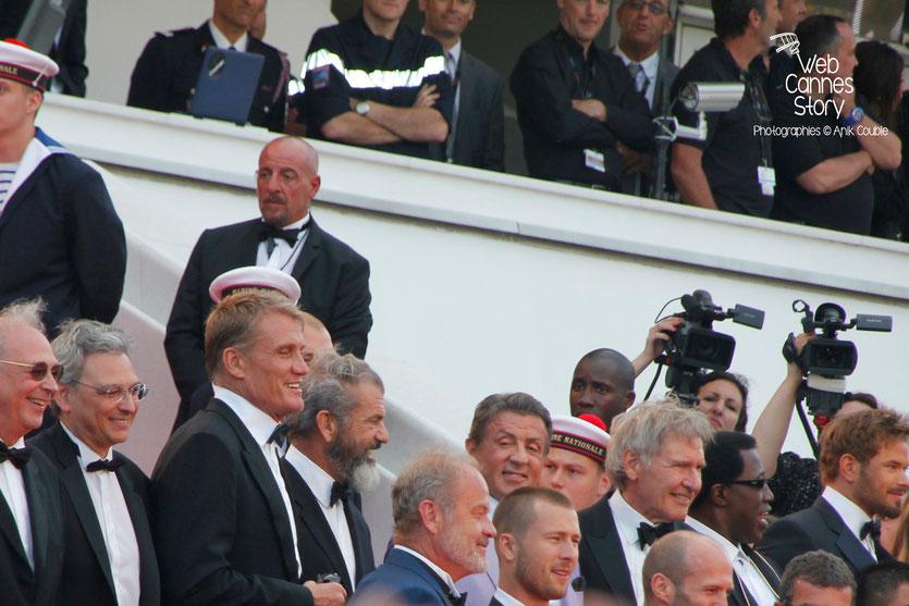 L'équipe du film  «The expendables 3 »  réalisé par Sylvester Stallone, en haut des marches, dont : Dolph Lundgren, Mel Gibson, Sylvester Stallone, Harrison Ford, Wesley Snipes - Festival de Cannes 20