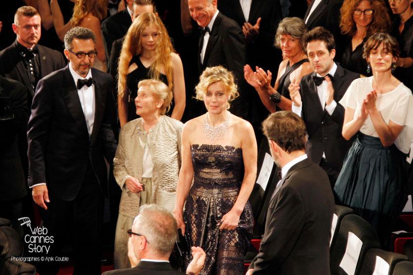 """John Turturro, Giulia Lazzarini, Margherita Buy et Nanni Moretti, lors de la projection du film """"Mia Madre"""" de Nanni Moretti - Festival de Cannes 2015 - photo © Anik COUBLE"""