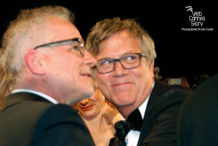 """Todd Haynes et Thierry Fremaux, lors de la projection de """"Carol"""" de Todd Haynes -  Festival de Cannes 2015 - Photo © Anik COUBLE"""