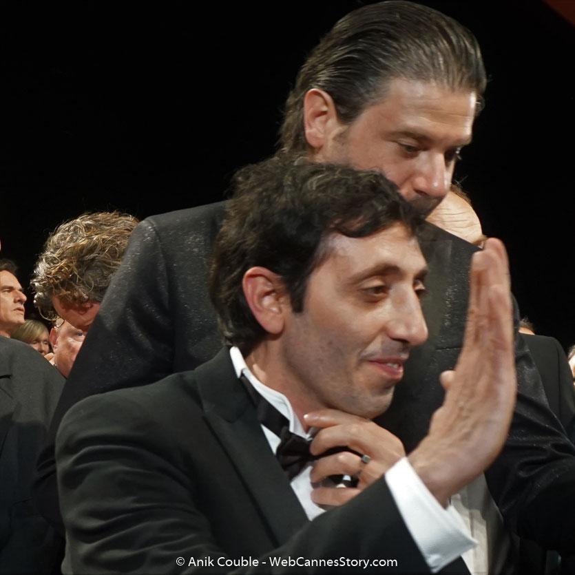 Marcello Fonte et Edoardo Pesce, lors de la projection du film, Dogman, de Matteo Garrone, présenté, le 16 mai  2018, en sélection officielle - Festival de Cannes 2018 - Photo © Anik Couble