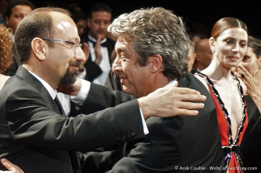 Ricardo Darín et Asghar Farhadi, lors de la projection du film, Todos lo saben (Everybody Knows), de Asghar Farhadi, présenté, en ouverture du Festival de Cannes 2018 - Photo © Anik Couble