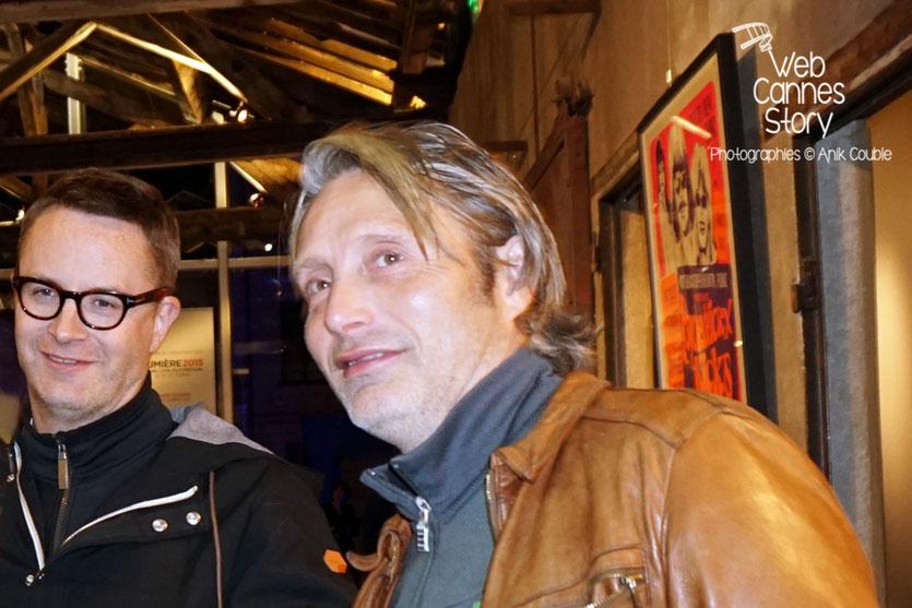 Mads Mikkelsen et Nicolas Winding Refn, dans le Hangar du 1er film - Festival Lumière 2015 - Photo © Anik COUBLE