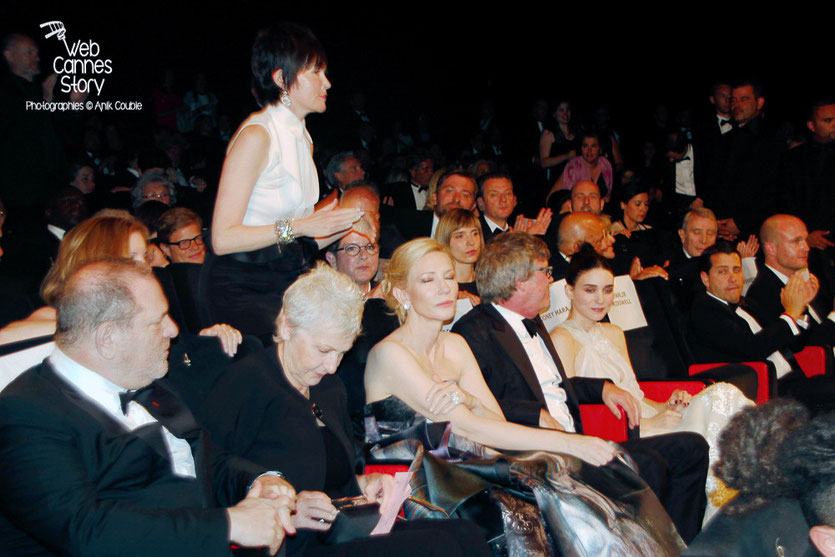 "Harvey Weinstein, Cate Blanchett, Todd Haynes et Rooney Mara, lors de la projection de ""Carol"" de Todd Haynes - Festival de Cannes 2015 - Photo © Anik COUBLE"