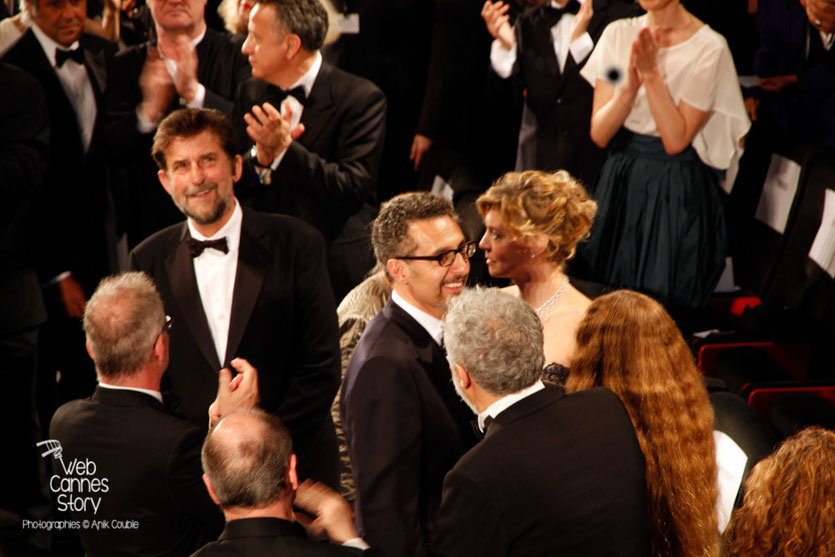 "Nanni Moretti, John Turturro et Margherita Buy, lors de la projection du film ""Mia Madre"" de Nanni Moretti - Festival de Cannes 2015 - Photo © Anik COUBLE"