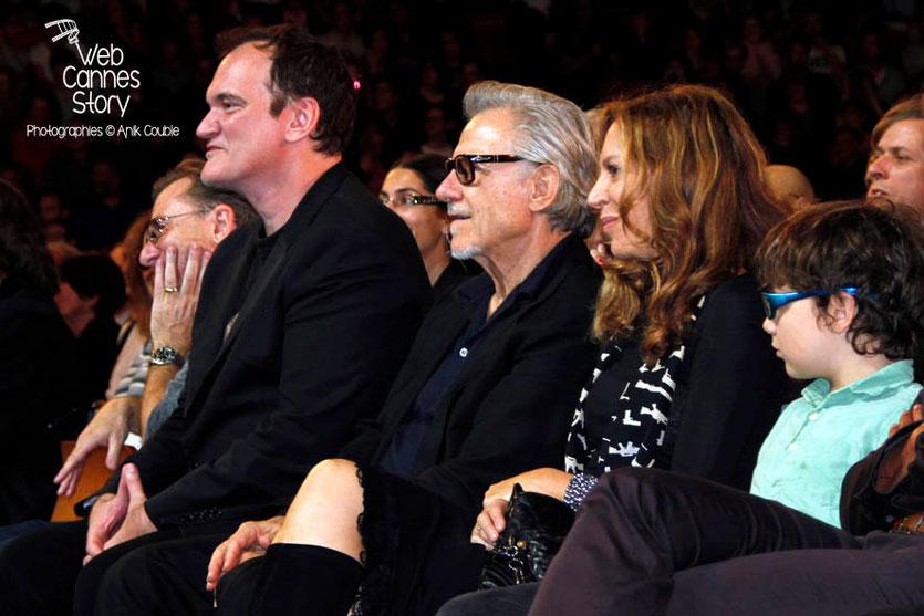 Quentin Tarantino, entouré de Tim Roth et  Harvey Keitel - Clôture du Festival Lumière - Lyon - 2013 - Photo © Anik COUBLE
