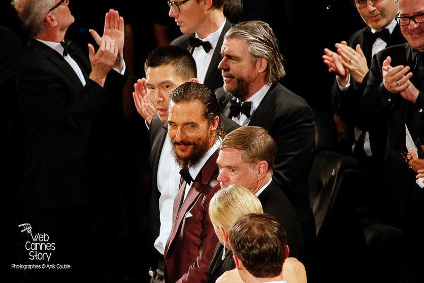 """Matthew McConaughey, Naomi Watts et Gus Van Sant, lors la projection du film """"The sea of trees"""" de Gus Van Sant - Festival de Cannes 2015 - Photo © Anik COUBLE"""