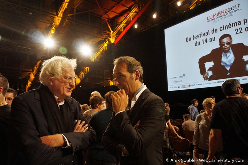 Bertrand Tavernier, réalisateur, scénariste, producteur, écrivain, Président de l'Institut Lumière, en conversation avec Alexandre Desplat, compositeur de musique de films - Cérémonie d'ouverture du Festival Lumière 2017 - Lyon - Photo © Anik Couble
