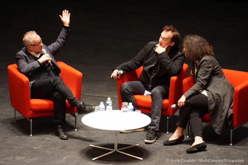 Thierry Frémaux, Quentin Tarantino et Massoumeh Lahidji, la géniale traductrice,  lors de la Master Class de Quentin Tarantino - Festival Lumière 2016 - Auditorium de Lyon- Photo © Anik Couble