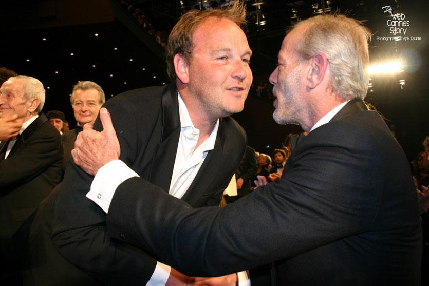 """Xavier Beauvois et Pascal Greggory, lors de la projection de son film """"Des hommes et de dieux """" - Festival de Cannes 2010 - Photo © Anik Couble"""