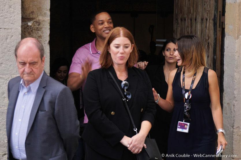 Arrivée de Will Smith et Pierre Lescure, à l'aïoli, le traditionnel déjeuner de presse, offert par le Maire de Cannes - Festival de Cannes 2017 - Photo © Anik Couble