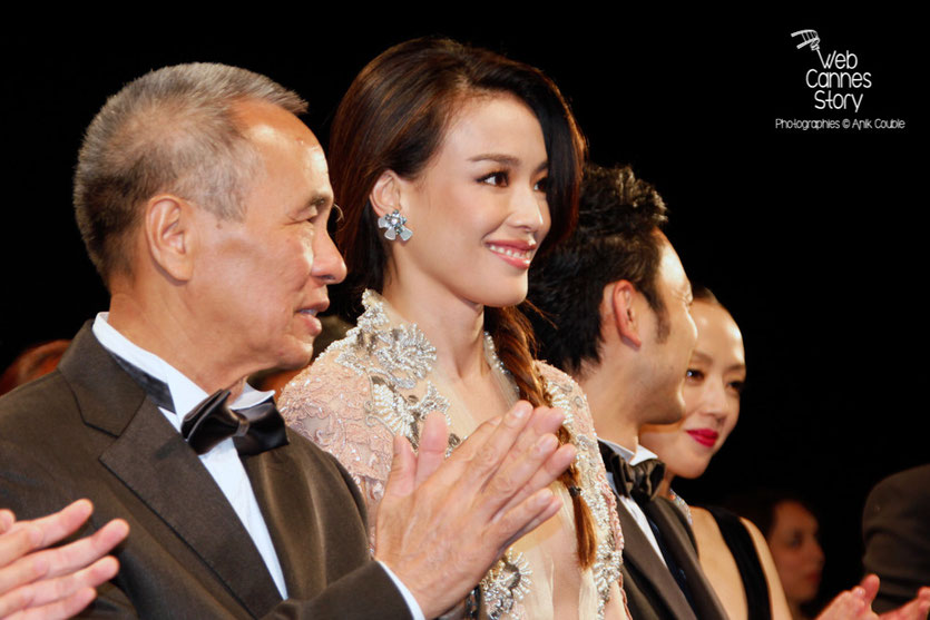 "Hou Hsiao-Hsien et son actrice Shu Qi, lors de la projection de son film ""The assassin"" -  Festival de Cannes 2015 -Photo © Anik COUBLE"