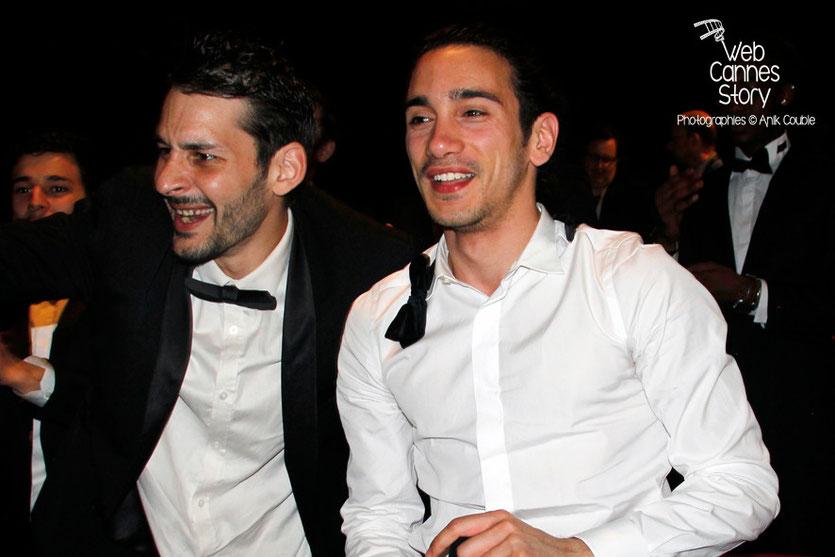 Rachid Yous, à droite, lors de la présentation du film «Géronimo» de Tony Gatlif - Festival de Cannes 2014 - Photo © Anik COUBLE