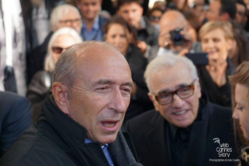 Martin Scorsese, lors de la pose de sa plaque sur le mur des réalisateurs, entouré de sa fille Francesca et de Gérard Collomb - Festival Lumière 2015 - Photo © Anik COUBLE