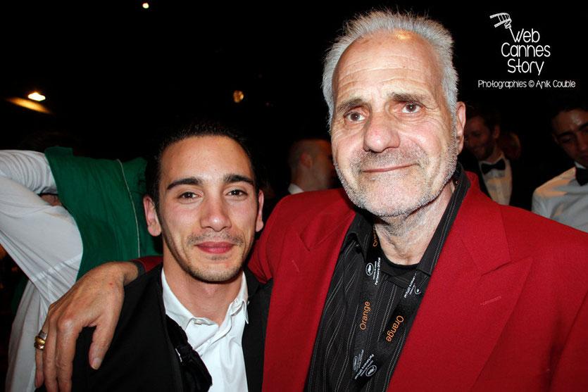 Rachid Yous, à gauche, lors de la présentation du film «Géronimo» de Tony Gatlif - Festival de Cannes 2014 - Photo © Anik COUBLE