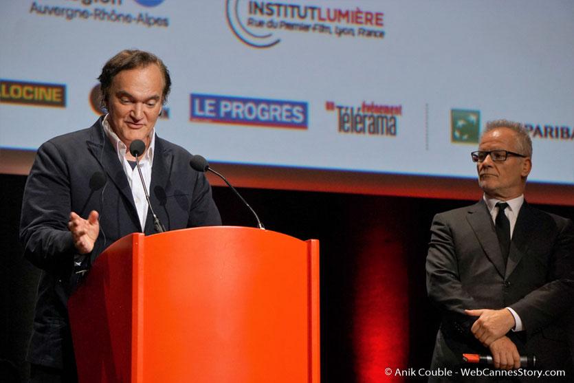 Quentin Tarantino et Thierry Frémaux - Cérémonie de remise du Prix Lumière - Amphitheâtre 3000 - Lyon - Oct 2016  - Photo © Anik Couble
