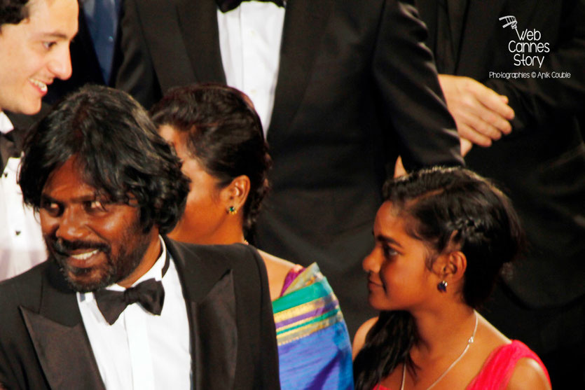 Antonythasan Jesuthasan et Claudine Vinasithamby, lors de la projection du film « Dheepan » de Jacques Audiard - Festival de Cannes 2015 - Photo © Anik COUBLE