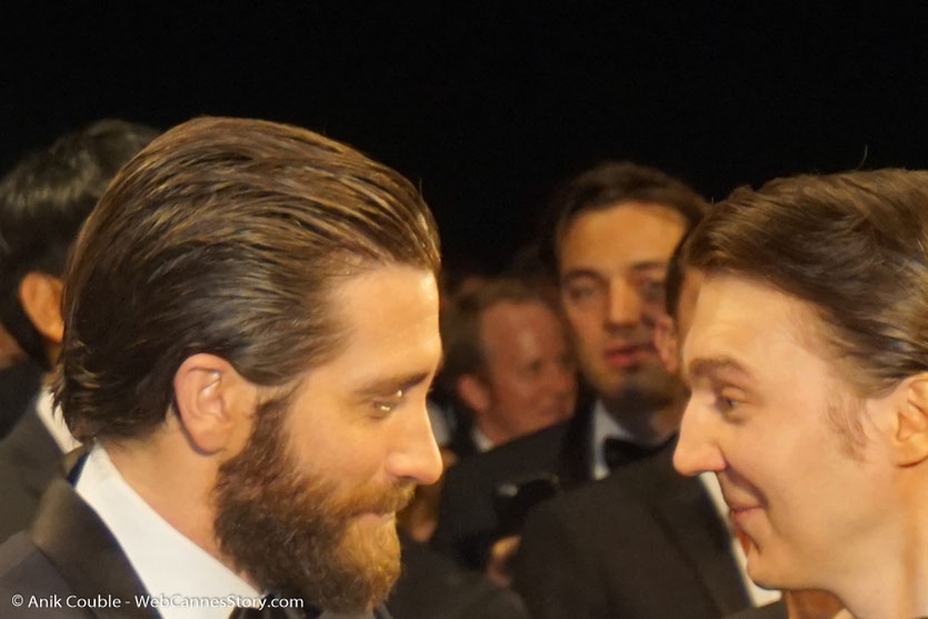 Jake Gyllenhaal et Paul Dano, lors de la projection du film Okja de Bong Joon Ho - Festival de Cannes 2017 - Photo © Anik Couble