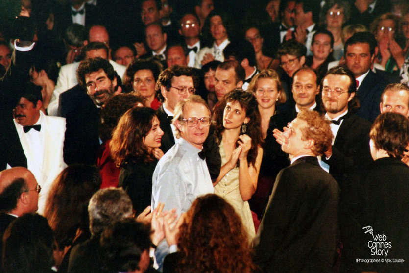 "Ken Loach, lors de la Projection de son film ""Land and Freedom"" - Festival de Cannes 1995 - Photo © Anik Couble"